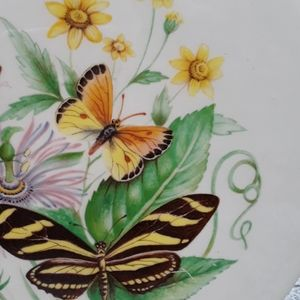 Vintage butterfly vase ceramic wood decal great co